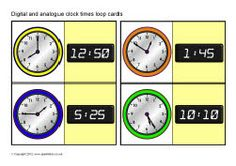 Digital and analogue clock times loop cards. You could create flash cards similiar to these and have kids match the analogue and digital clocks