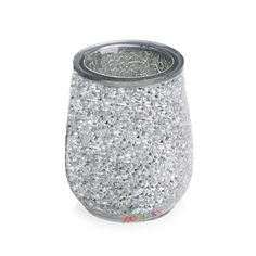 NEW-Black-Crackle-Glass-Bathroom-Accessories-Set-Silver-Mosaic ...