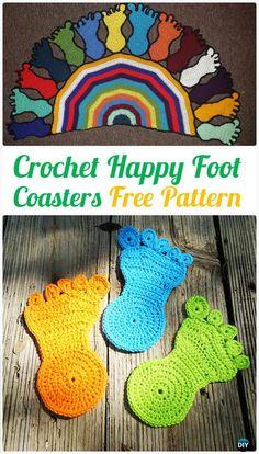 Crochet Happy Foot Coasters Free Pattern - Crochet Coasters Free Patterns