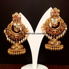 Antique Earrings latest jewelry designs - Page 2 of 56 - Indian Jewellery Designs Gold Jhumka Earrings, Indian Jewelry Earrings, Jewelry Design Earrings, Gold Earrings Designs, Antique Earrings, India Jewelry, Jhumka Designs, Gold Designs, Gold Necklace