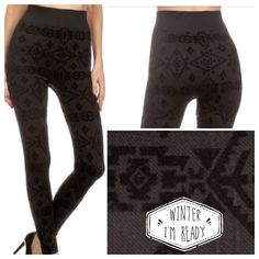 WARM WINTER LEGGINGS! Cute Aztec burnout design leggings! 95% polyester/5% spandex. Medium thickness. Fits sizes 4-12  PLEASE DO NOT BUY THIS LISTING, I will personalize one for you. tla2 Pants Leggings