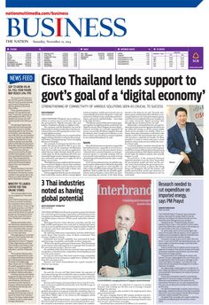 Cisco Thailand lends support to govt's goal of a 'digital economy' - The NATION's Business Page, Novembe 22, 2014 http://www.nationmultimedia.com/business/Cisco-Thailand-lends-support-to-govts-goal-of-a-di-30248309.html