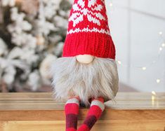 Nordic Gnome - Special Edition - Hand Knitted Hat Nordic Pattern, Tomte , Nisse , Christmas Decor for Hygge Home