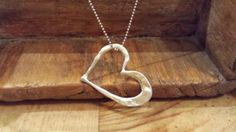 Silver Heart With Diamonds Necklace by DesertGoatDesigns on Etsy, $180.00