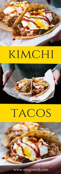 Tacos Kimchi Tacos are a delicious fusion hand food, with pickled veggies, Kimchi Jjigae marinated meat, tortillas, and poached eggs. Asian Recipes, Mexican Food Recipes, Burger Recipes, Meat Recipes, Asian Foods, Pizza Recipes, Food Trucks, Quesadillas, Kitchen