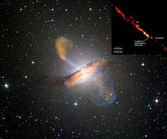 Enourmous Power: Jets of streaming plasma expelled by the central black hole of a massive spiral galaxy light up this composite image of Centaurus A. The jets emanating from Cen A are over a million light years long. Exactly how the central black hole expels infalling matter is still unknown.