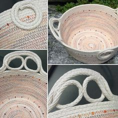 Coiled rope bowl in multi-orange by Andrea