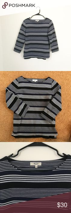 Madewell Striped Top The quality of this top is so so good! Navy, black and white striped top by Madewell with three-Quarter sleeves. The fabric is stretchy and sturdy, much better quality than regular t-shirt material. Madewell Tops