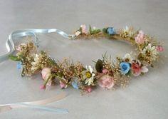 country wedding hair accessories headwreath natural babys breath Bridal Flower crown Bride hair wreath blue pink Headpiece flower girl halo on Etsy, $42.00