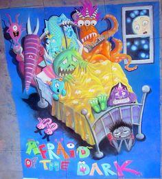 Afraid of the Dark, chalk mural, Paseo Colorado Chalk Fest Chalk Drawings, Afraid Of The Dark, The Darkest, Colorado, Aspen Colorado, Colorado Hiking, Chalk Painting