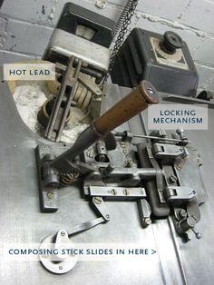 Mecanismo de fundición de la Ludlow Typograph.