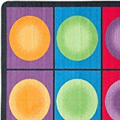 Flagship Carpets FE118-44A Dot Spots Seating Rug, Everyone Has a Spot on This Colorful Design, 7'6″ x 12′ Seats 30, 90″ Length, 144″ Width, Multi-Color