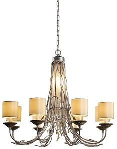 Soft Chandelier Eight Lights With Cylindrical Shades Available In