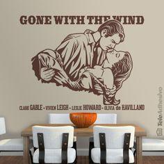 """Vinilo decorativo inspirado en el cartel la película """"Lo que el viento se llevó""""(""""Gone with the Wind"""" en inglés). Protagonizada por Clark Gable y Vivien Leigh. Es una de las películas más famosas de la historia del cine. Blues Brothers, Vivien Leigh, Clark Gable, Pulp Fiction, Stencil Art, Stencils, Leslie Howard, Olivia De Havilland, Scarlett O'hara"""