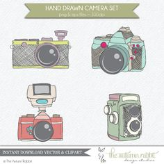 Hand drawn Camera Clipart Vector Files  High by TheAutumnRabbit, $4.99