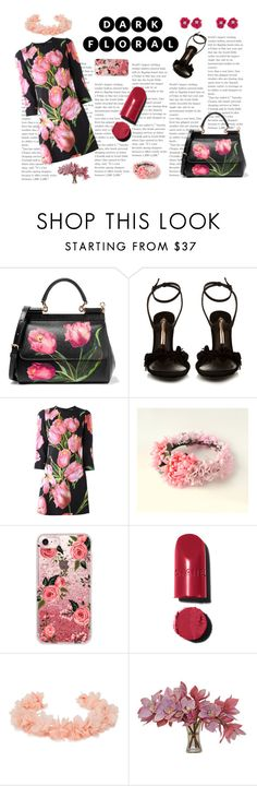 """""""Untitled #313"""" by sakura1987 ❤ liked on Polyvore featuring Dolce&Gabbana, Sophia Webster, Casetify, Chanel, AURA Headpieces, The French Bee and BaubleBar"""
