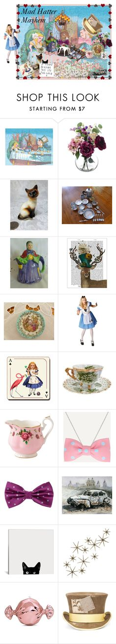 """""""Mad Hatter Mayhem"""" by muskrosevintage ❤ liked on Polyvore featuring interior, interiors, interior design, home, home decor, interior decorating, FabFunky, Disney, Avenida Home and Napco"""