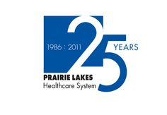 "Prarie Lakes Healthcare System. Simple but dynamic. I like how the date and the word ""years"" pulls the logo together, and creates a horizontal line, countering the diagonal between the 2 and 5."