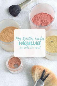 On parle de cosmétique maison aujourd'hui ! Je vous livre mes trois recette de maquillage 100% naturels : un blush, une poudre du soleil et une poudre de teint.