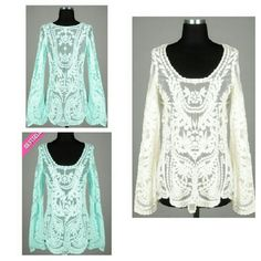Bell Sleeve Crochet Top Boutique brand Bell Sleeve top, great quality perfect for spring and summer. boutique Tops Blouses
