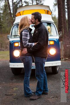 Hilary and Deven having a moment in front of their adventure mobile. #engagement #portrait #couple #spokane #washington #kiss #VW #camperbus