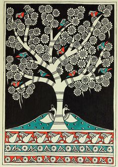 Authentic Indian Folk Art Madhubani Painting - Night Garden | NOVICA