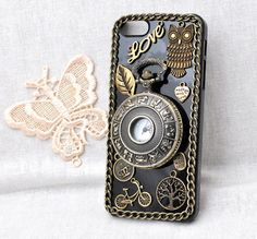 handmade black cell phone case for iphone 5C 5S or 4 4s or ipod touch 4 5 protective back cover with clock and chain