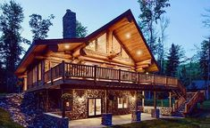 The Mitchell residence in McNaughton Wisconsin built by the team at @pioneerloghomes