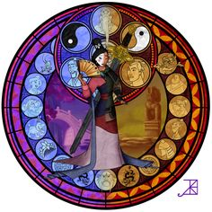 Mulan Stained Glass by ~Akili-Amethyst