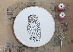Owl Hoop Art, Embroidery hoop art, Screenprinted Owl, Illustration, Hand printed, Nursery, Wall hanging by mooshpie
