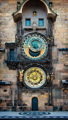 Astronomical clock mounted on the southern wall of Old Town City Hall in the Old Town Square of Prague.