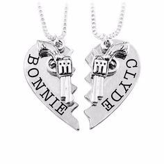 Bonnie and Clyde Friendship Necklaces - Set of 2