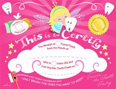 Free Printable Pink Tooth Fairy Certificate