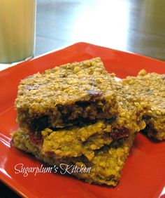 Healthy Banana Oatmeal Bars.  These are so good!  I added 1t. vanilla and omitted the dried fruit.