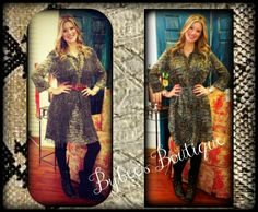 Snake print tunic top, looks fabulous layered with a vest. Sizes: small - large