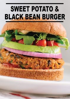 Sweet Potato and Black Bean Veggie Burger – a great substitute for meat burgers and just as tasty! Try the recipe today!