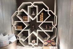 Geometric inspired bookshelf at the Becarre Gallery Ramadan 2012 Exhibition, Kuwait.