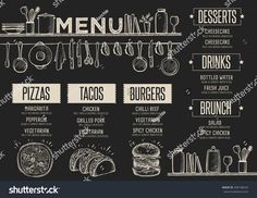 Find Cafe Menu Food Placemat Brochure Restaurant stock images in HD and millions of other royalty-free stock photos, illustrations and vectors in the Shutterstock collection. Chalkboard Restaurant, Cafe Restaurant, Restaurant Design, Menu Burger, Chalk Menu, Menu Chalkboard, Cafe Menu Boards, Cafeteria Menu, Bar Deco