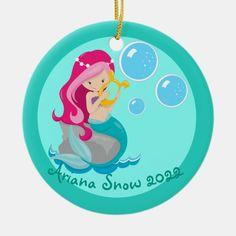 Cute Custom Mermaid Ceramic Ornament | Zazzle.com Mermaid Gifts, Cute Mermaid, Custom Christmas Ornaments, How To Make Ornaments, Mermaid Ornament, Elephant Gifts, Christmas Card Holders, Gifts For Girls, Ceramics