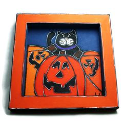 Little trail with black cat and pumpkins - Sweets trail for Halloween - Halloween empty pocket - de la boutique LULdesign sur Etsy Halloween Halloween, Pumpkins, Empty, Trail, Sweets, Pocket, Boutique, Cats, Painting