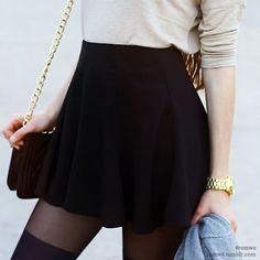 Fine sweater, a short skirt and over-knee-socks