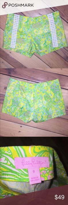 "Like new Lilly Pulitzer flora shorts Great condition.  No stains, tears, or holes 15"" across waist and 3"" inseam •I bundle & discount bundles •If an item is higher than you want to pay, message an offer or favorite & wait for price to drop weekly.  •My mannequin is Xsm so sometimes items appear loose or I clip back for actual look/fit •Usually ships within 24 hrs and latest 48 hours unless otherwise noted.  •Some of my items are various sizes because I sell for sister as well. # Lilly…"