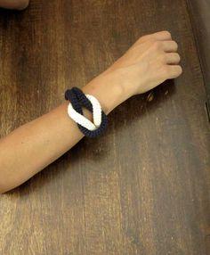 Together, crochet nautical knot bracelet. Nautical style bracelet. Navy blue and cream cotton yarn.