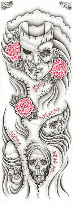 """2011, A4 pigma micron, pencil and prismacolors Custom evil themed full-sleeve tattoo commission, there are some """"speak no"""", """"see no"""" and """"hear no"""" cutted out lettering and red outlined roses. This ..."""