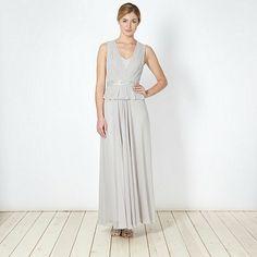 No. 1 Jenny Packham Designer light grey embellished peplum maxi dress- at Debenhams.com