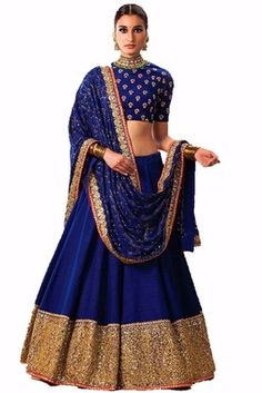 Blue and golden embroidered bhagalpuri unstitched lehenga choli