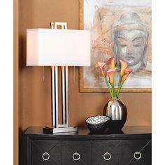 Possini Euro Design Brushed Nickel Rectangle Table Lamp