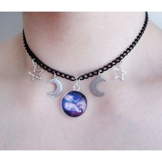 galaxy moon choker, pastel goth, nu goth, grunge ($6.61) ❤ liked on Polyvore featuring jewelry, necklaces, choker necklace, gothic pendants, gothic necklaces, adjustable necklace and goth necklace