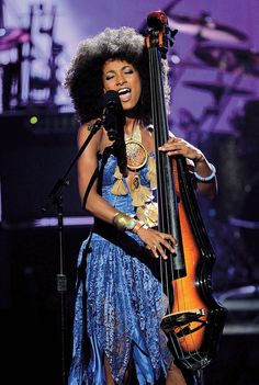 Esperanza Spalding...she is THE BOMB...lovin that fro too.