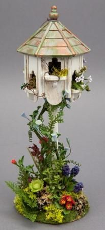 Dollhouse Land by Laura Crain, via Collector's Club of Great Britain. I'd like to see this made up as a real birdhouse . Miniature Plants, Miniature Gardens, Terrarium, Fairy Garden Houses, Fairy Gardens, Gnome House, Small World, Topiary, Garden Projects